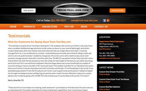 Screenshot of Testimonials Page truck-tool-box.com - Testimonials - Truck Tool Box - captured Oct. 25, 2017