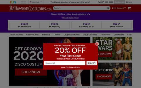 Screenshot of Home Page halloweencostumes.com - Halloween Costumes for Adults and Kids   HalloweenCostumes.com - captured Dec. 15, 2019