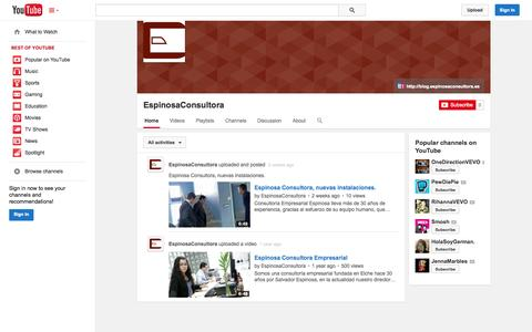 Screenshot of YouTube Page youtube.com - EspinosaConsultora  - YouTube - captured Oct. 23, 2014