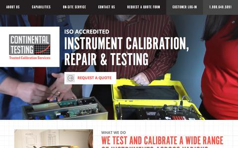 Screenshot of Home Page continentaltesting.com - Instrument Calibration Services | Continental Testing - captured July 21, 2018