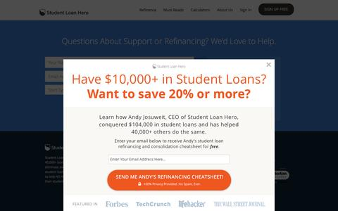 Screenshot of Support Page studentloanhero.com - Need Student Loan Help? Support request for Student Loan Hero | Refinance and Consolidate Your Student Loans | Student Loan Hero - captured Jan. 30, 2016