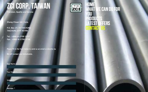 Screenshot of Contact Page zcisteel.com - Contact Us - captured Oct. 7, 2014