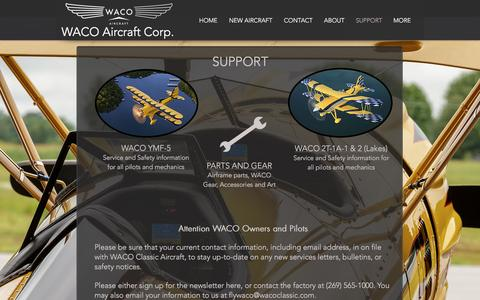 Screenshot of Support Page wacoaircraft.com - WACO Aircraft Corp.  | SUPPORT - captured Nov. 28, 2016