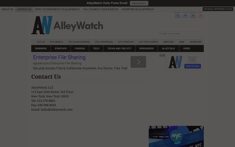 Screenshot of Contact Page alleywatch.com - Contact Us - AlleyWatch - captured Sept. 13, 2014