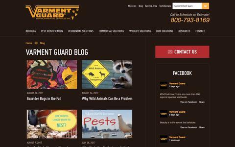Screenshot of Blog varmentguard.com - Pest Control Blog & Articles | Varment Guard - captured Oct. 19, 2017