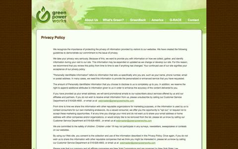 Screenshot of Privacy Page greenpowerworks.com - Privacy Policy | Green Power Works - captured Oct. 3, 2014