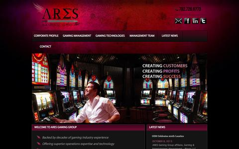 Screenshot of Home Page aresgg.com - ARES — Gaming Management & Technologies - captured Oct. 4, 2014