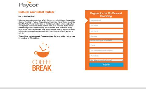 Screenshot of Landing Page paycor.com - Culture: Your Silent Partner - captured Aug. 19, 2016
