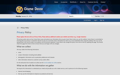 Screenshot of Privacy Page gamedecor.com - Privacy Policy - captured Jan. 25, 2016