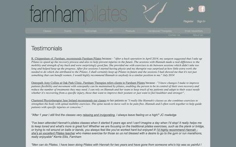 Screenshot of Testimonials Page farnhampilates.com - Testimonials | Farnham Pilates - captured Sept. 30, 2014