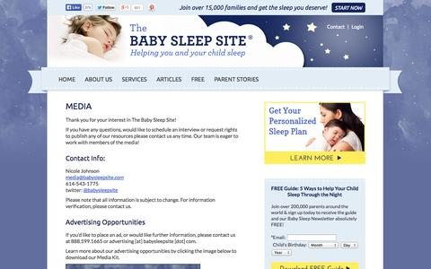 Screenshot of Press Page babysleepsite.com - Baby Sleep Site - Media Inquiries and Contact   The Baby Sleep Site - Baby Sleep Help   Toddler Sleep Help   Personalized Sleep Consulting - captured Sept. 19, 2014
