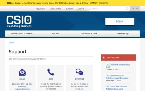 Screenshot of Support Page csio.com - Support | Centre for Study of Insurance Operations - captured Nov. 1, 2016