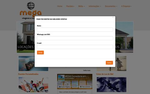 Screenshot of Home Page megaviagenseturismo.com.br - Mega Viagens e Turismo - captured Sept. 20, 2018