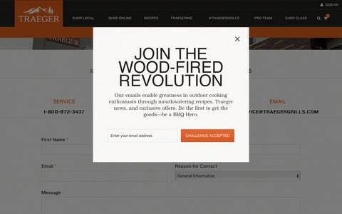Screenshot of Contact Page traegergrills.com - Contact | Traeger Wood Pellet Grills - captured Nov. 2, 2018