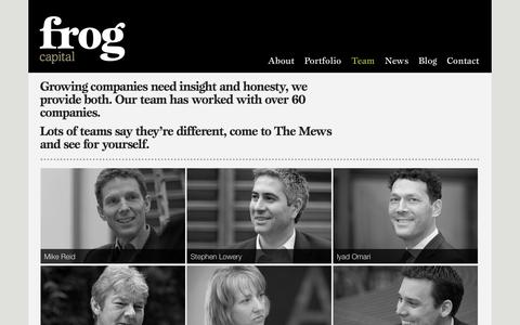Screenshot of Team Page frogcapital.com - Team - Frog - captured Sept. 30, 2014