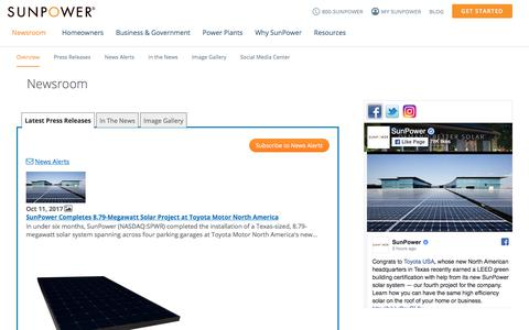 Screenshot of Press Page sunpower.com - SunPower latest press releases, blogs and news - captured Oct. 11, 2017