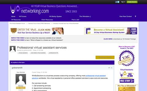 Screenshot of vanetworking.com - Professional virtual assistant services - Introduce Yourself and Your Virtual Business! - The Virtual Assistant Forum - captured Oct. 3, 2016