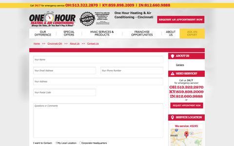 Screenshot of Contact Page onehourheatandair.com captured April 23, 2017