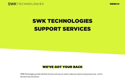 Screenshot of Support Page swktech.com - Support - captured Nov. 18, 2016