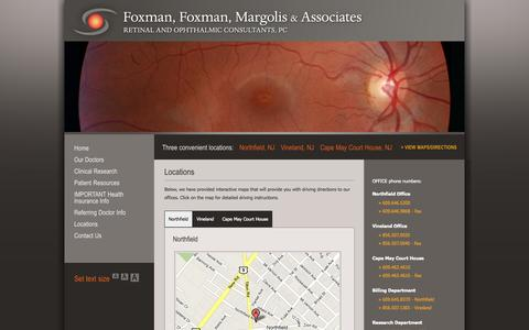 Screenshot of Contact Page Locations Page retina.com - Retinal and Ophthalmic Consultants | 1500 Tilton Rd. | Northfield, NJ 08225| 609-646-5200 - captured Oct. 25, 2014