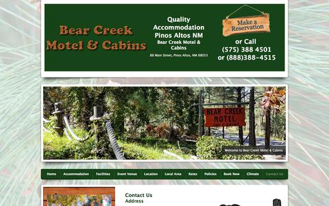 Screenshot of Contact Page bearcreekcabins.com - Contact Us for Accommodation in Pinos Altos - captured July 2, 2018