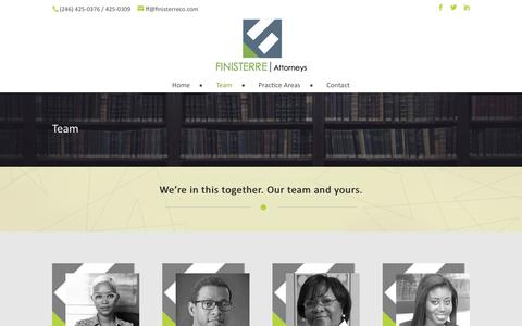 Screenshot of Team Page finisterreco.com - Attorney At Law at Finisterre Attorneys | Barbados - captured Oct. 13, 2017