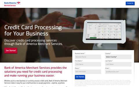Screenshot of Landing Page bankofamerica.com - Credit Card Processing | Bank of America - captured Jan. 2, 2017
