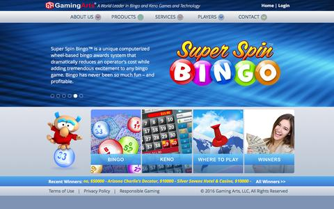 Screenshot of Home Page gamingarts.com - Gaming Arts - A World Leader in Bingo and Keno Games and Technology - captured Jan. 21, 2016