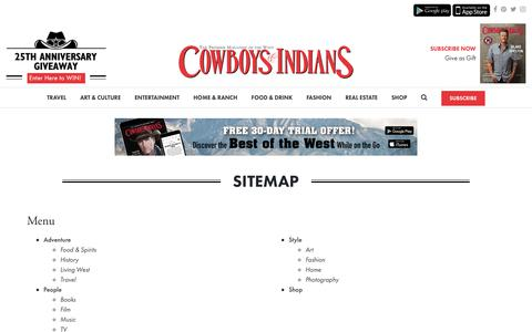 Screenshot of Site Map Page cowboysindians.com - Sitemap – Cowboys and Indians Magazine - captured Sept. 29, 2018