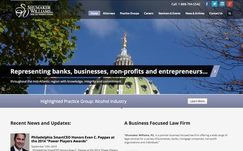 Screenshot of Home Page shumakerwilliams.com - Shumaker Williams - captured Oct. 7, 2014