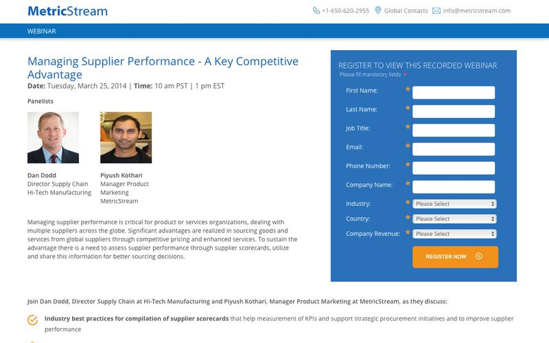 WEBINAR: Managing Supplier Performance - A Key Competitive Advantage