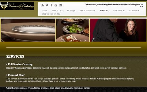 Screenshot of Services Page heavenlycateringdfw.com - SERVICES | Dallas Catering Service - captured Nov. 1, 2014