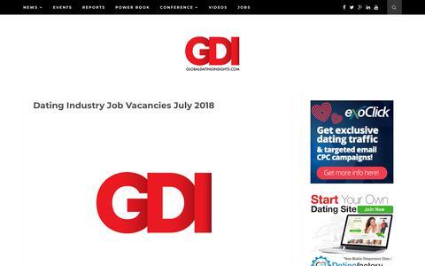 Screenshot of Jobs Page globaldatinginsights.com - Dating Industry Job Vacancies July 2018 - Global Dating Insights - captured July 19, 2018