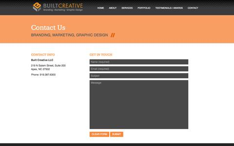 Screenshot of Contact Page builtcreative.com - Built Creative - Contact Us - captured Sept. 30, 2014