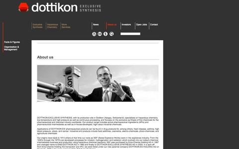 Screenshot of About Page dottikon.com - Dottikon - Producer of Fine Chemicals and Organic Intermediates, Custom Synthesis for Chemical and Pharmaceutical Industry, Waste Disposal and Recycling - captured Oct. 5, 2014