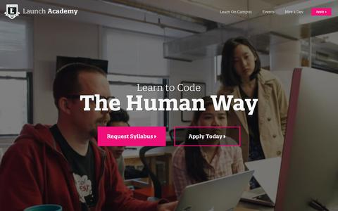 Screenshot of Home Page launchacademy.com - Launch Academy: A Boston coding bootcamp in Massachusetts. - captured Nov. 13, 2019