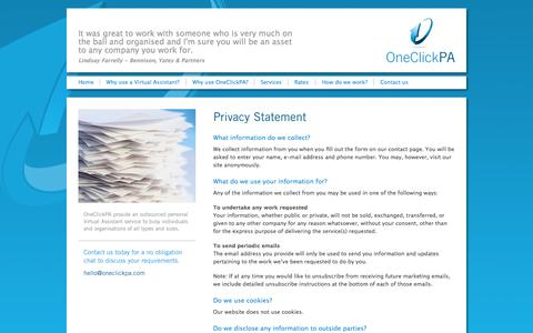 Screenshot of Privacy Page oneclickpa.com - OneClickPA - virtual Personal Assistant covering Cheltenham/Gloucestershire and surrounding areas - captured Oct. 26, 2014
