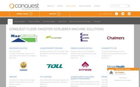 Screenshot of Case Studies Page conquestequipment.com.au - Floor Sweeper Scrubber Machine | Conquest Equipment - captured Nov. 11, 2016