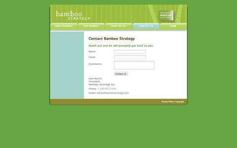 Screenshot of Contact Page bamboostrategy.com - Growing Marcom Effectiveness :: Bamboo Strategy :: Edmonton, Alberta - captured Oct. 5, 2014