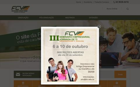 Screenshot of Home Page fcv.edu.br - Faculdade Cidade Verde - captured Sept. 7, 2015