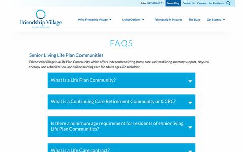 Screenshot of FAQ Page friendshipvillage.org - Answers to the most frequent senior living questions | Friendship Village of Schaumburg - captured Oct. 11, 2018