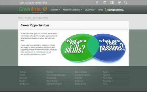 Screenshot of Jobs Page grcs.com - Career Opportunities | Greenbrier Technologies - captured Oct. 3, 2014