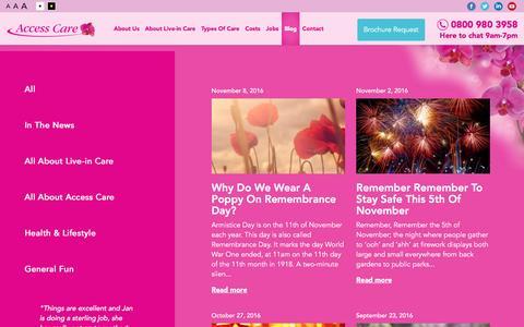 Screenshot of Blog access-care.co.uk - Blog - Access Care - captured Nov. 20, 2016