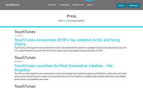 Screenshot of Press Page touchtunes.com - TouchTunes | Press - captured July 10, 2019