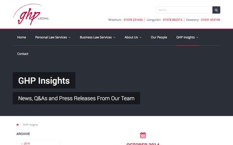 Screenshot of Press Page ghplegal.com - GHP Insights | GHP Legal - captured Oct. 28, 2014