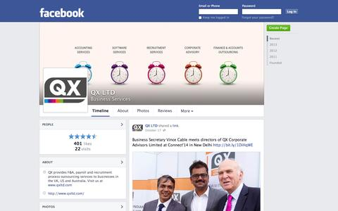 Screenshot of Facebook Page facebook.com - QX LTD - Skipton, United Kingdom - Business Services | Facebook - captured Oct. 22, 2014