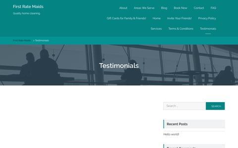 Screenshot of Testimonials Page firstratemaids.com - Testimonials - First Rate Maids - captured Aug. 4, 2016