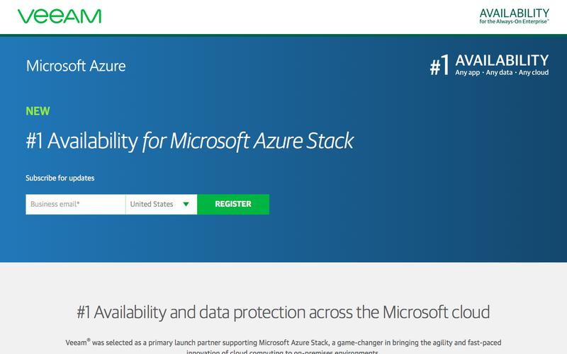 Veeam support for Microsoft Azure Stack
