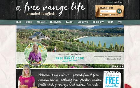 Screenshot of Home Page annabel-langbein.com - Annabel Langbein Đ Official website of The Free Range Cook Đ Cooking TV series - captured Jan. 19, 2016