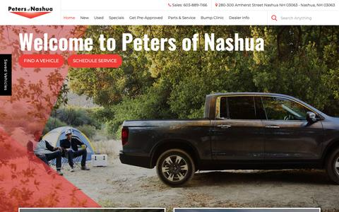 Screenshot of Home Page petersauto.com - Peters of Nashua | New & Used Cars Nashua, NH - captured Sept. 27, 2018